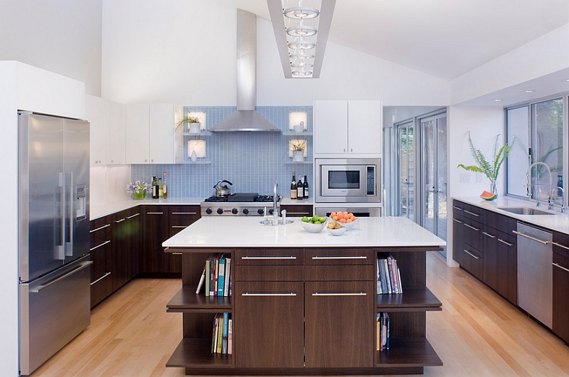 Elegant blue backsplash coupled with wooden cabinets