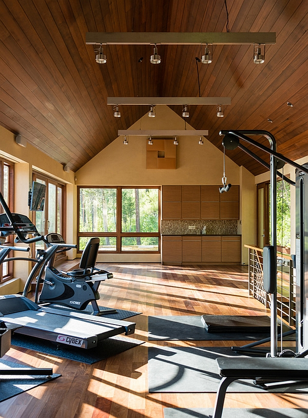 Elegant home gym with lovely views