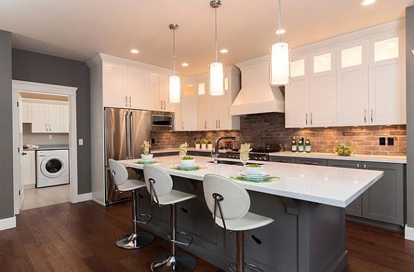 Elegant kitchen in grey and white
