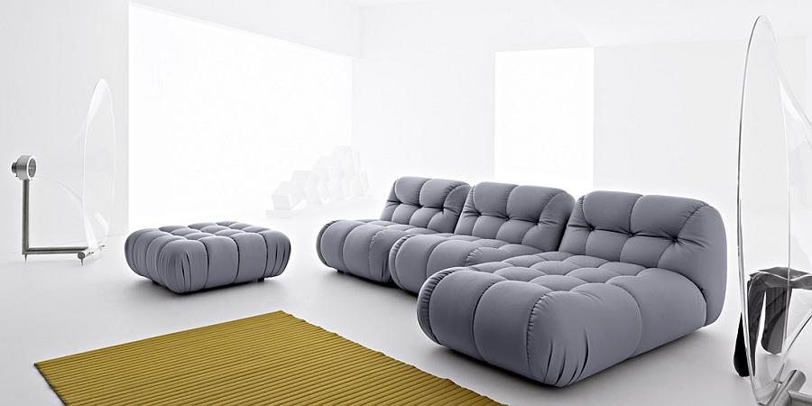 Elegant modern sofa in steely silver