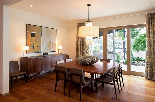 Elegant square dining table in wood