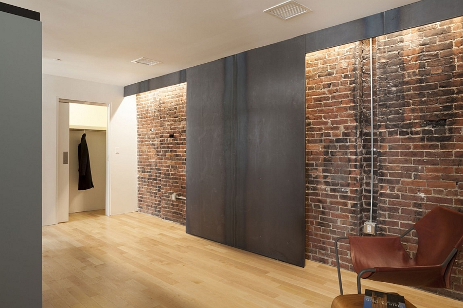 Exposed brick wall inside the modern home