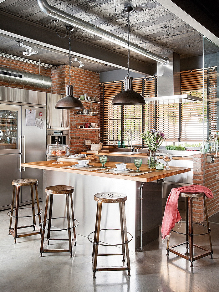 Exposed brick walls in the industrial kitchen
