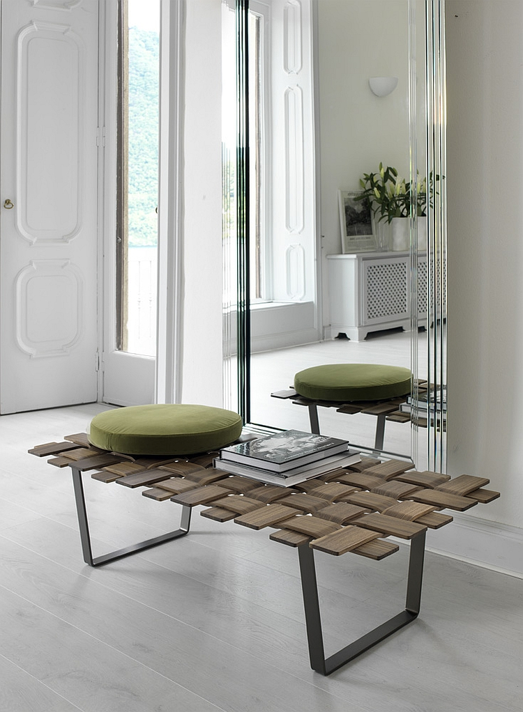Exquisite Belt bench with an intricate top Comfy Contemporary Benches For The Posh!