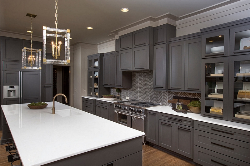 Exquisite backsplash in the transitional kitchen