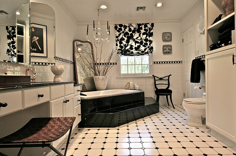 Fabulous black and white bathroom combines several different textures