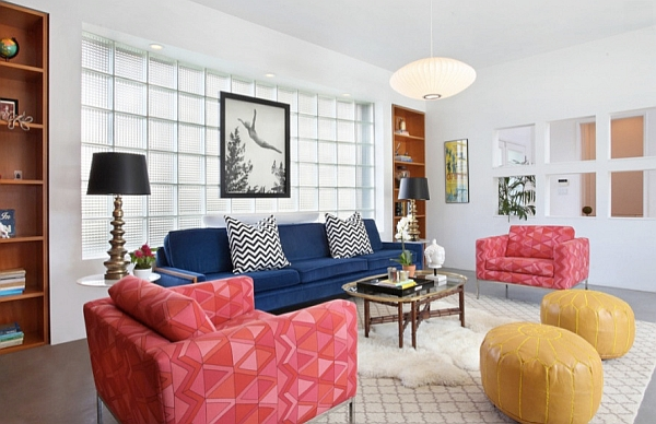Fabulous splashes of color in the modern living room