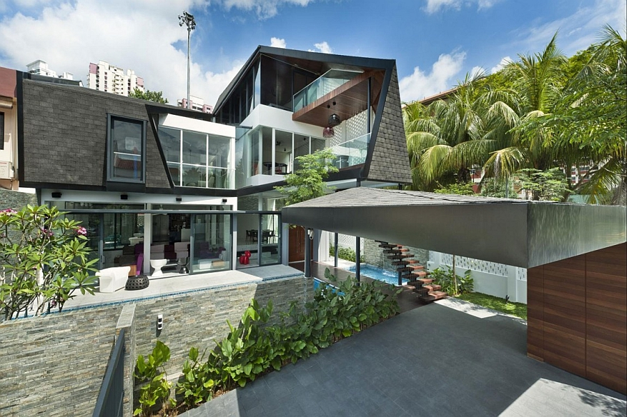 Facade of rejuvenated contemporary house Posh Private Residence In Singapore Oozes Contemporary Class!