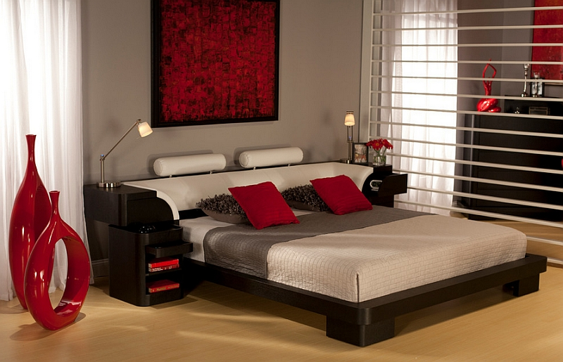 Fiery reds for a passionate and romantic bedroom