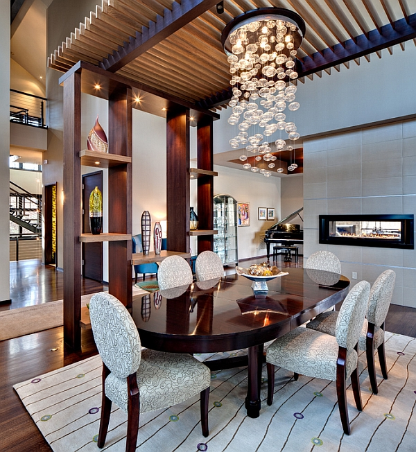Modern Chandeliers Contemporary Dining Room: Dramatic Cascading Chandeliers Unleash Visual Splendor And