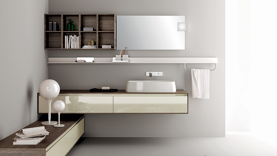 Exclusive minimalist bathroom with sleek design and Floating bathroom vanity