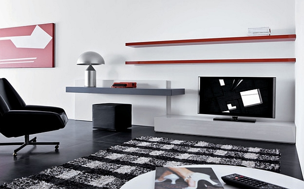 Floating shelves are a natural choice for the minimal room