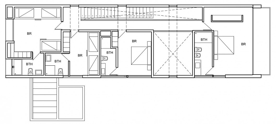 Floor plan for the bedrooms on the second level