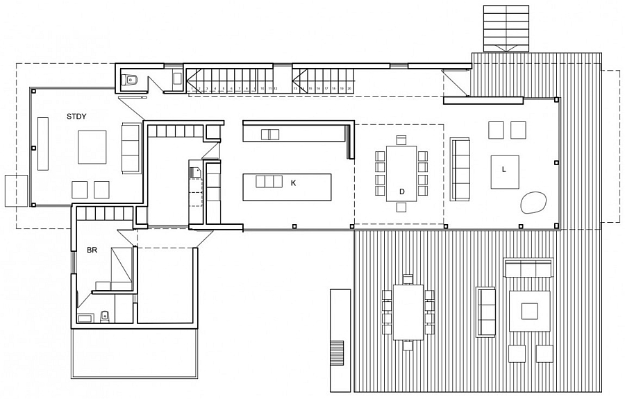 Floor plan for the living area of a modern house
