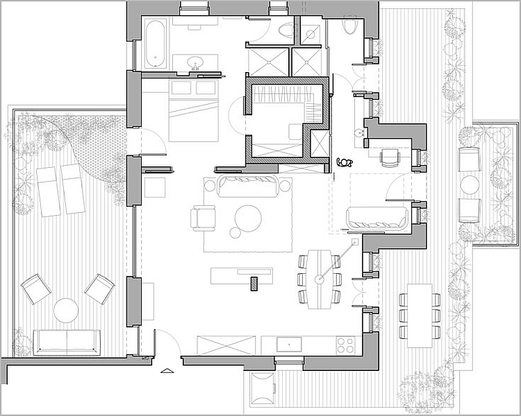 Floor plan of fabulous modern apartment in Israel