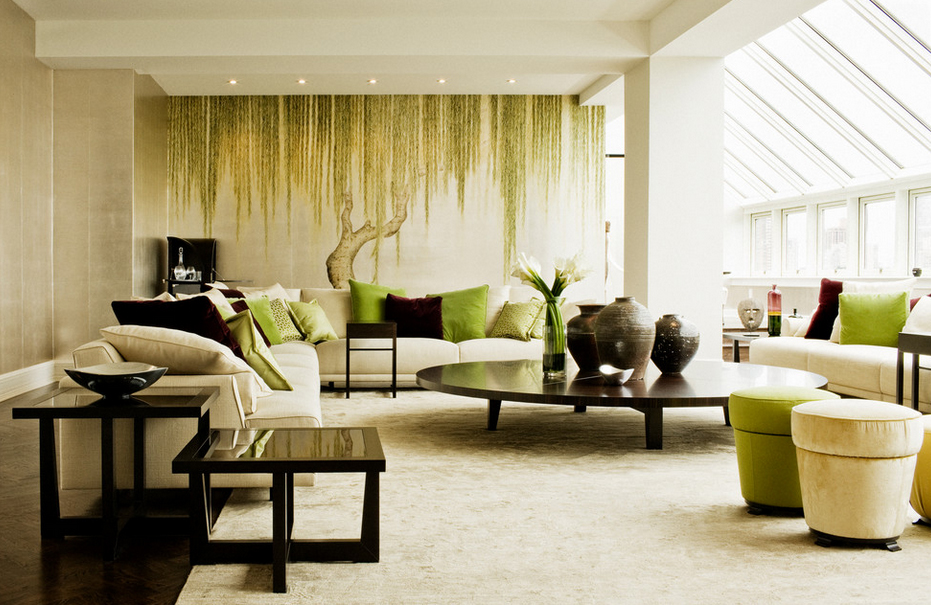 Forest themed living room decor with Zen elements