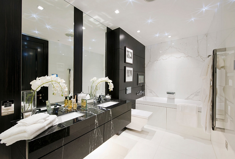 Frameless mirrors above the bathroom vanity