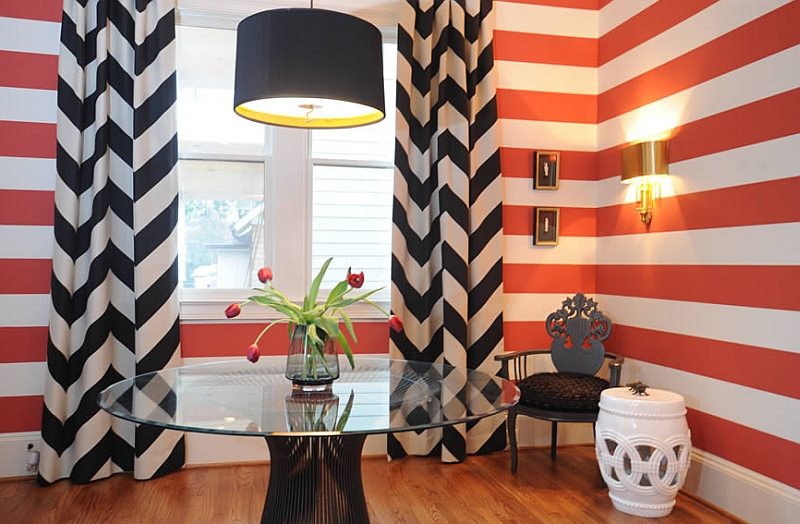 Fun dining room with chevron pattern curtains and the Platner Table