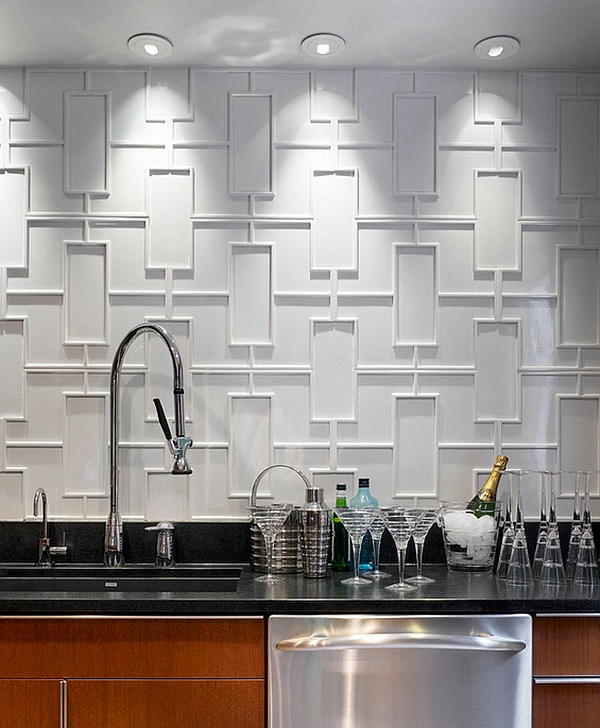 Geometric backsplash of modern kitchen