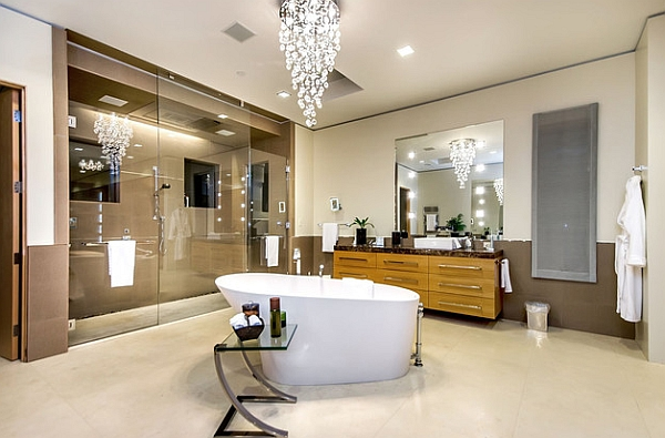 Small Chandelier Over Bathtub