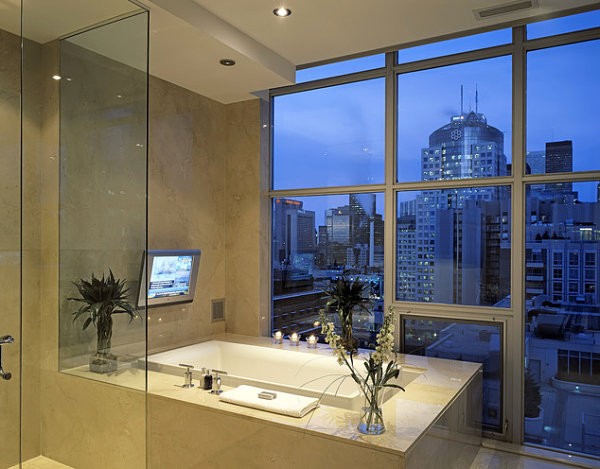 Glamorous bathroom with a skyline view