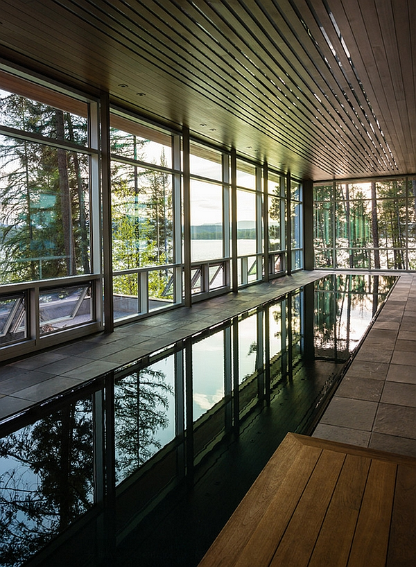Glass windows offer lovely lake views