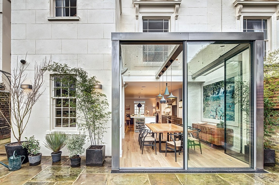 Glassy entrace to the exclusive London Home Exuberant English Home Delights With A Colorful And Original Interior