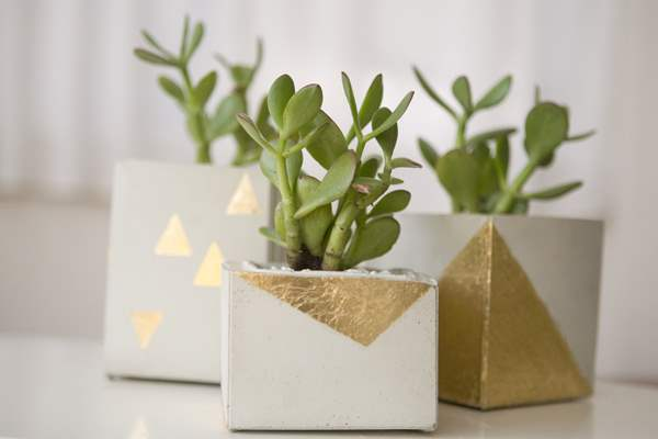Gold leaf cement planters