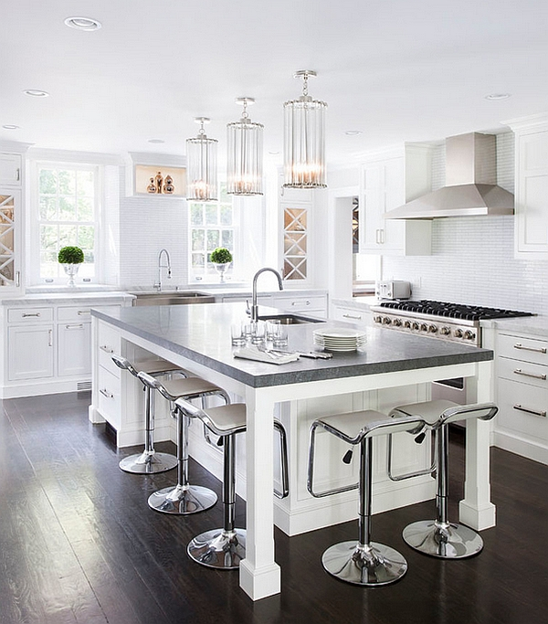 Gorgeous LEM Piston Stools in white at the kitchen island