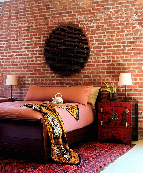 Gorgeous and eclectic Asian themed bedroom with antique decor