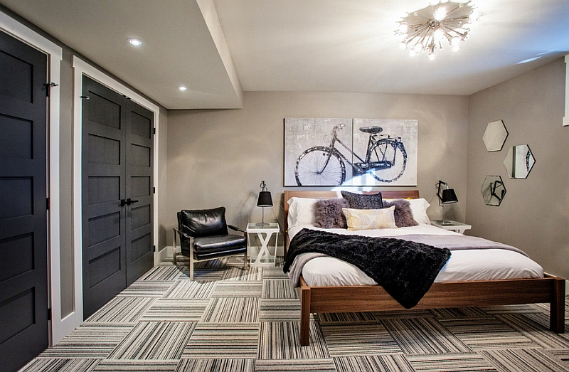 Gorgeous basement bedroom with a trendy style