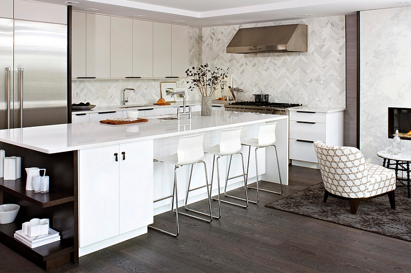 View In Gallery Gorgeous Kitchen With Cool Backsplash In Herringbone Pattern