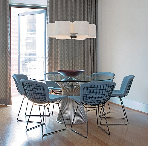 Graceful and elegant dining space in cool hues