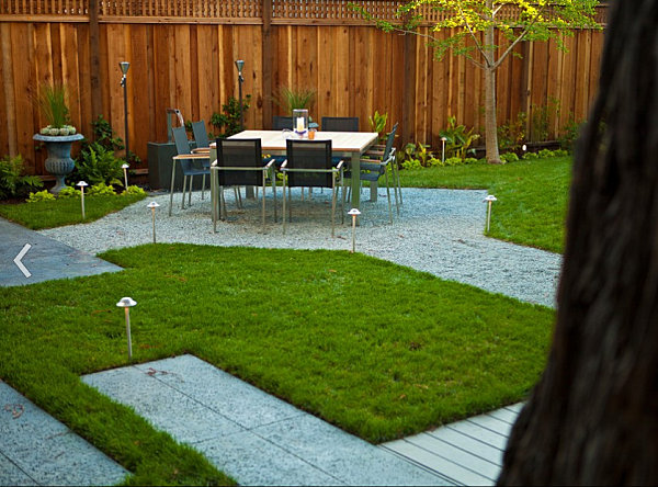 Graveled dining area
