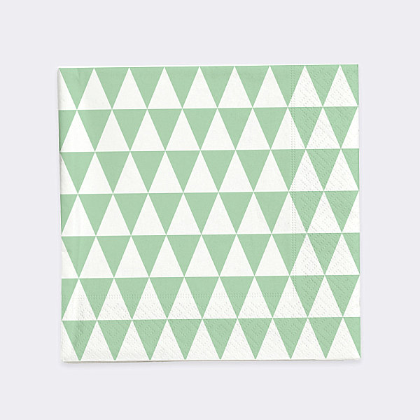 Green and white triangle napkins