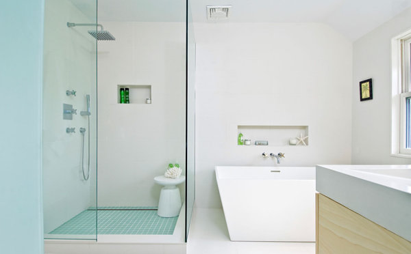 Green bath products make all the difference in a minimalist powder room
