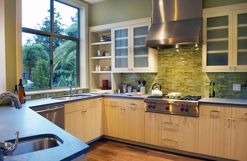 View in gallery Green onyx tile backsplash for the modern kitchen