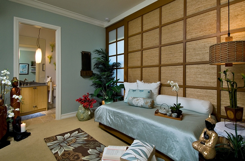 Hard to miss the Asian style in this bedroom