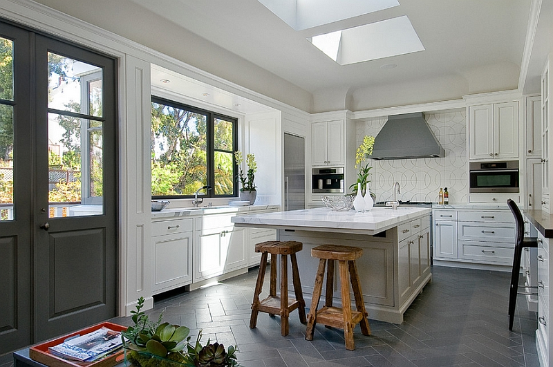 view in gallery herringbone pattern tile flooring in the kitchen