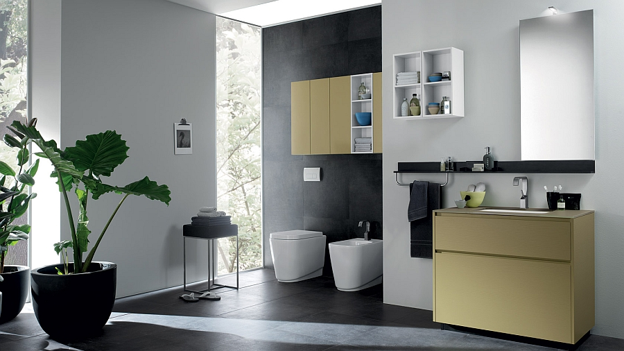 Hint of yellow in the modern bathroom