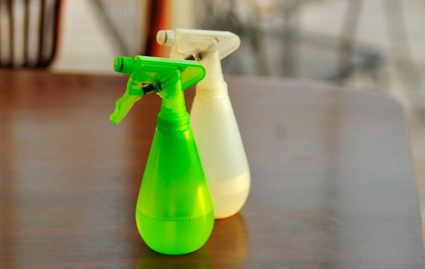 Homemade cleaning products in spray bottles