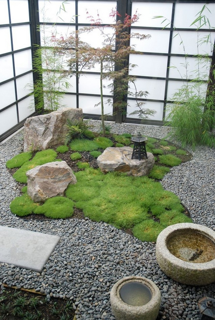 Indoor Japanese garden and sliding doors