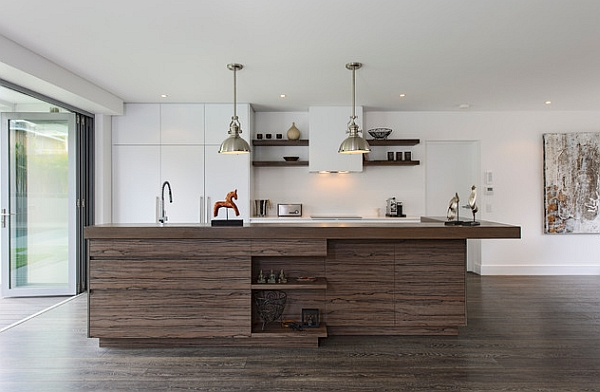 Industrial inspired kitchen with a recycled timber island!