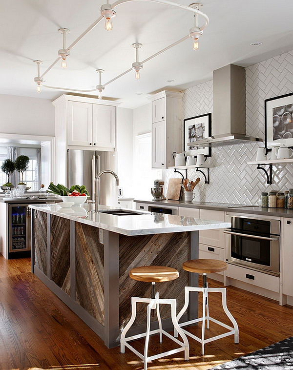 Innovative way of adding chevron pattern to the kitchen island