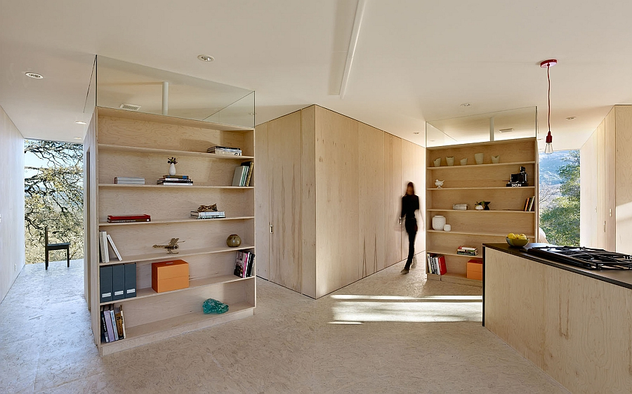 Interior in unfinished plywood