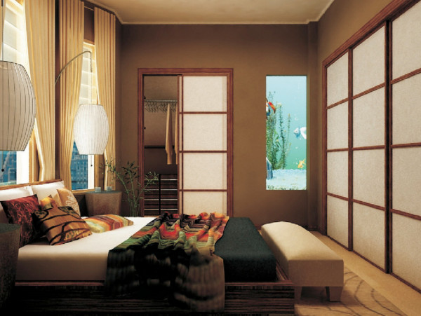Japanese-inspired bedroom featuring wood sliding doors