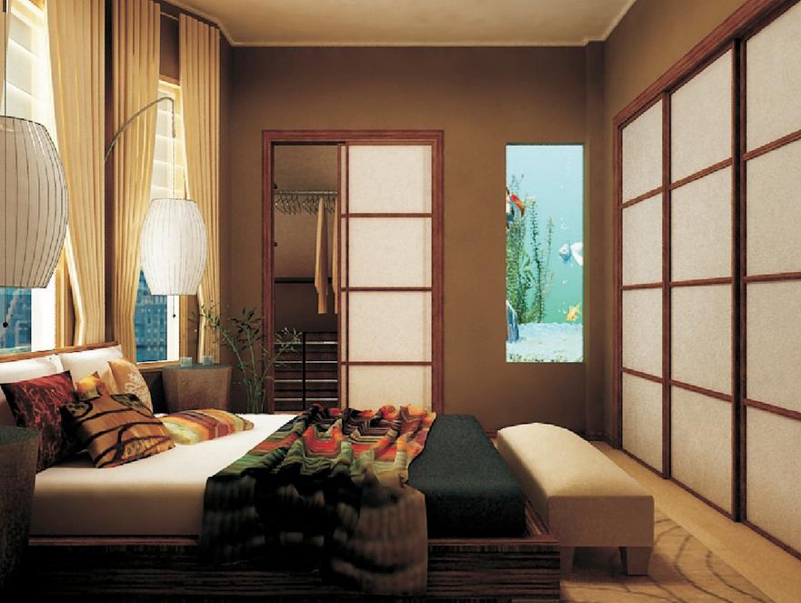 Japanese-inspired bedroom featuring wood sliding doors