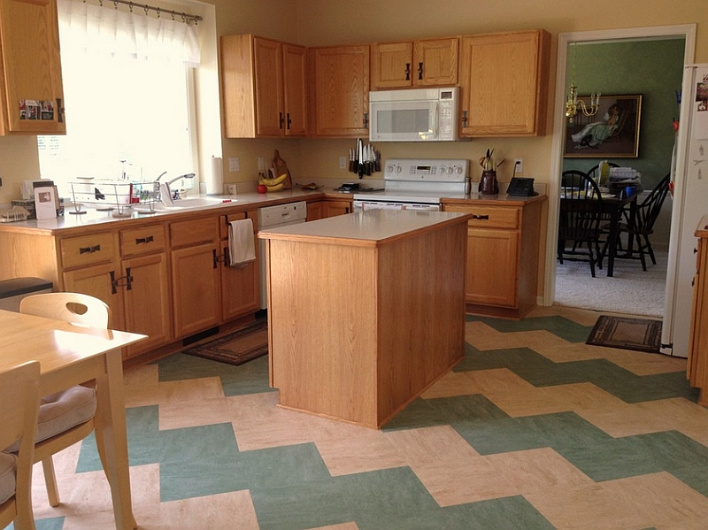 Kitchen flooring with chevron pattern tiles