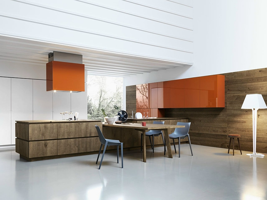 Knotted oak brings warmth to the kitchen