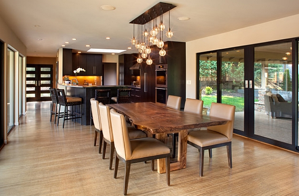 LED pendants of the chandelier steal the show in this dining room!